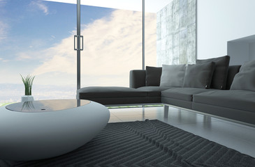 Modern living room with a funky coffee table