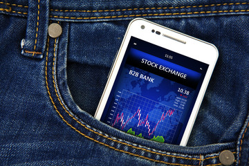mobile phone with stock exchange market in the pocket