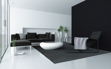 Minimalist grey and white modern living room