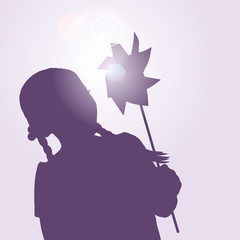 girl and pin wheel silhouette