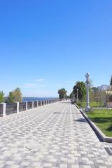 View on quay of river Volga