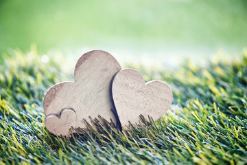 Three Wooden Hearts on Green Grass