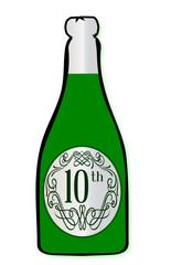 10th Celebration Wine Bottle