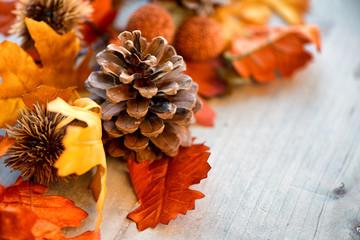 Herbsthintergrund mit Tannenzapfen und Blättern