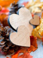 Still Life of Wooden Hearts Amongst Autumn Foliage