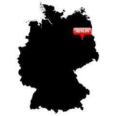 Map with the Capital in a red bubble - Germany.