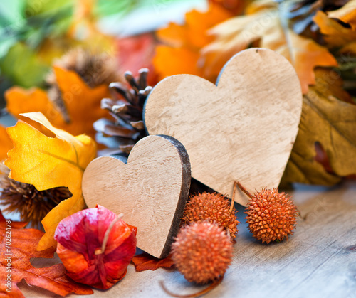 canvas print picture Two hearts in an autumn background