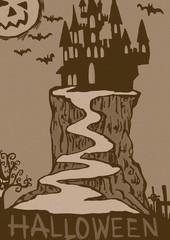 Halloween castle vintage