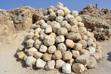 Ballista shells in National park Apollonia.