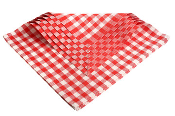 Napkins checkered red and white isolated.