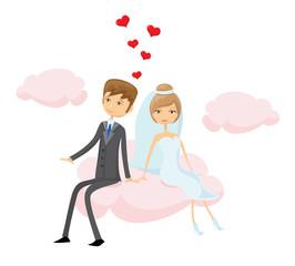 Свадебное фото, жених и невеста в любви, вектор