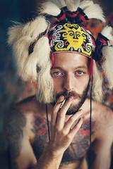 Man in celtic head wear