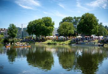 Bank of river danube and Neu Ulm during festival