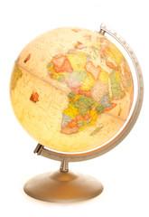 vintage world map globe glowing