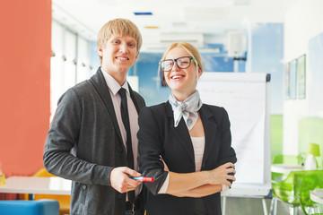 Man and woman making a presentation