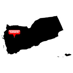 Map with the Capital in a red bubble - Yemen.