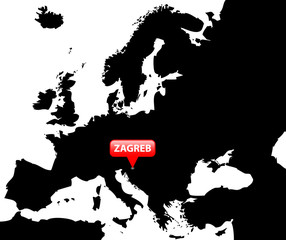 Map over Europe with the Capital in red bubble - Zagreb.
