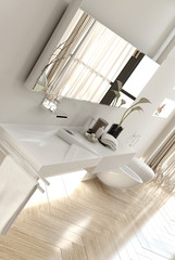Interior of Modern White Bathroom in Apartment