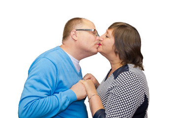 Husband kisses his wife