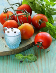 branch of fresh organic  tomatoes with green basil