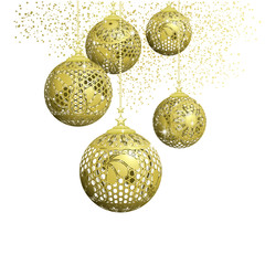 Lace Gold Christmas Balls