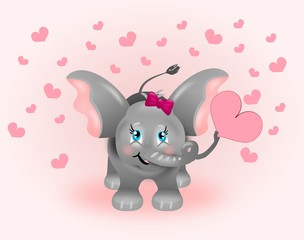 Cute elephant with pink hearts