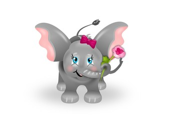 Cute small elephant with rose