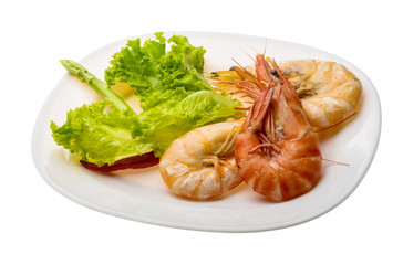 Boiled king prawns