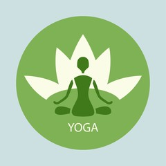 emblem yoga pose against a background of lotus in a green circle
