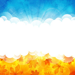 Sunny background with leaves