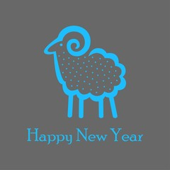 blue sheep on a dark gray background for greeting card
