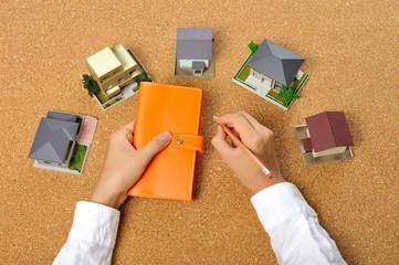 住宅模型とビジネスシーン