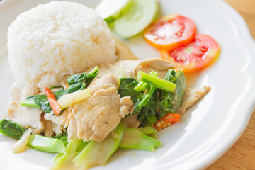 Chinese kale stir-fried with oyster sauce and  chicken