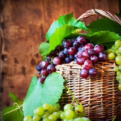 Red and Green Grapes with Leaves