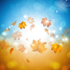 Golden Autumn Sunshine Background