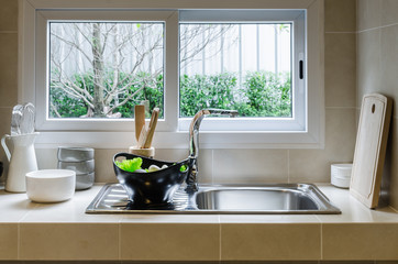 sink and counter in kitchen