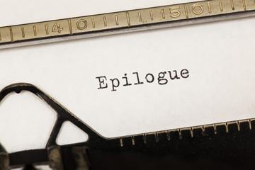Epilogue written on old typewriter.
