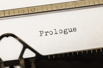 Prologue written on old typewriter.
