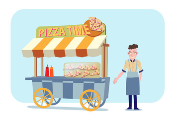 pizza shop with shop owner vector illustration