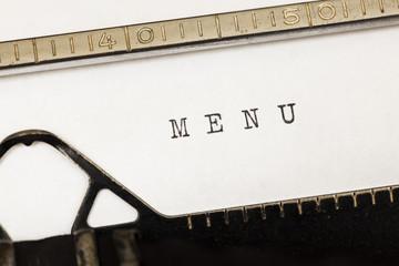 Menu written on old typewriter.