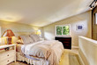 Bedroom interior with vaulted ceiling