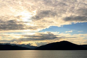 Sunset in the Inside Passage, Alaska, United States