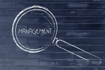 focusing on business vision and management, magnifying glass des