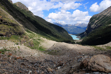 Lake Louise seen from the Plain of the Six Glaciers trail