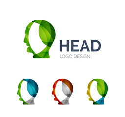 Human head logo design made of color pieces