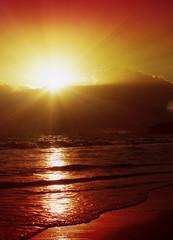Wonderful sunrise in the Caribbean.