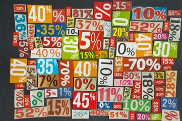 DISCOUNTS background is made of cut paper figures