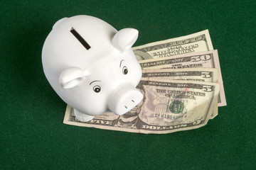 White piggy bank and US Dollars