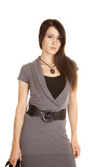 brunette woman business dress serious