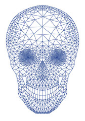 skull with geometric mesh pattern, vector